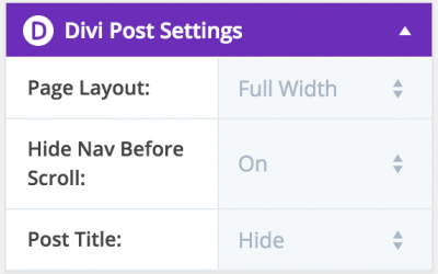 Divi Default Post Settings plugin