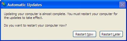 Windows XP Update Popup