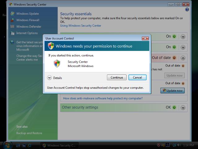 User Account Control in Windows Vista