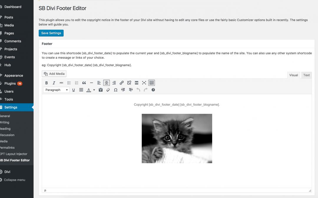 Free plugin – SB Divi Footer Editor